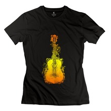 High Quality 100% Cotton Guitar Music DJ Rocks nature tune Girl t-shirt Leisure Lady T Shirts