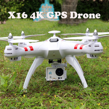 4K Brushless Motor X16 GPS Real-Time RC Helicopter Drone With Camera HD 2.4G 6Axis RTF RC Quadcopter 1600W Dron FPV adult Toys(China)