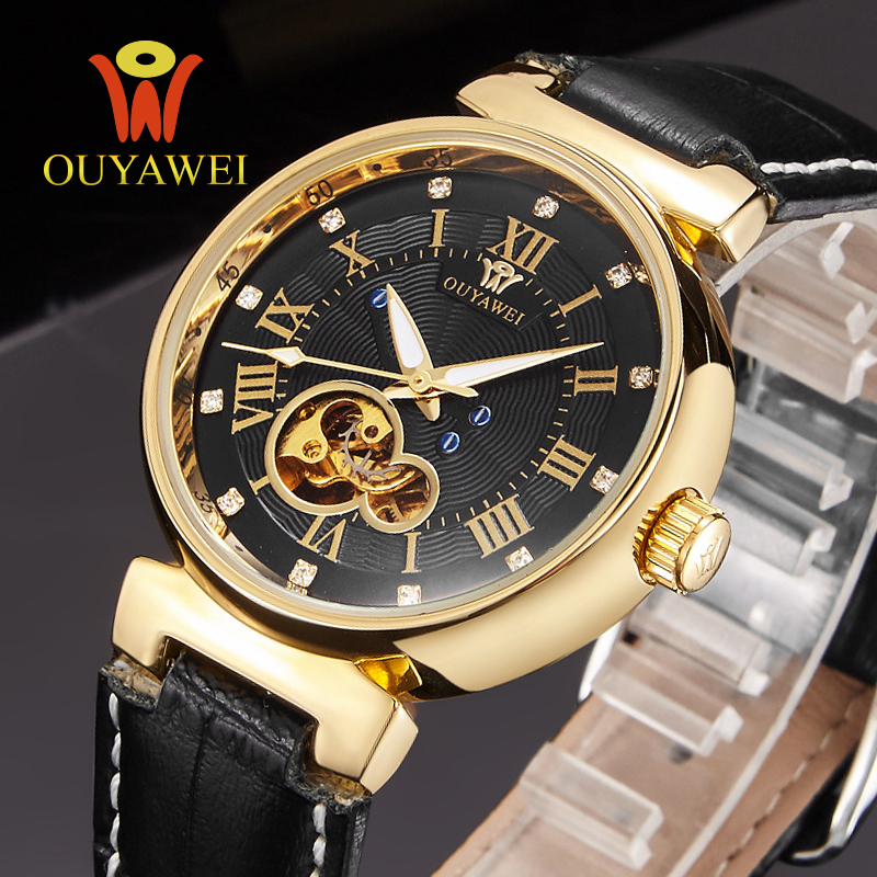 Mechanical Mens Watch Skeleton wristwatch Man watches Leather Relogio Masculino Luxury Fashion Casual Wrist Watch For Men Gift<br>