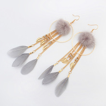 Leaves Feather Tassel Stud Earring For Women Hair Ball Earring Fashion Jewelry Gold Color Double Sided Long Earrings Woman