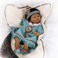 Lifelike Reborn Dolls Babies Native American Indian Silicone Baby Dolls Bebe Reborn Vinyl Soft Gentle Touch Doll Collection Toys
