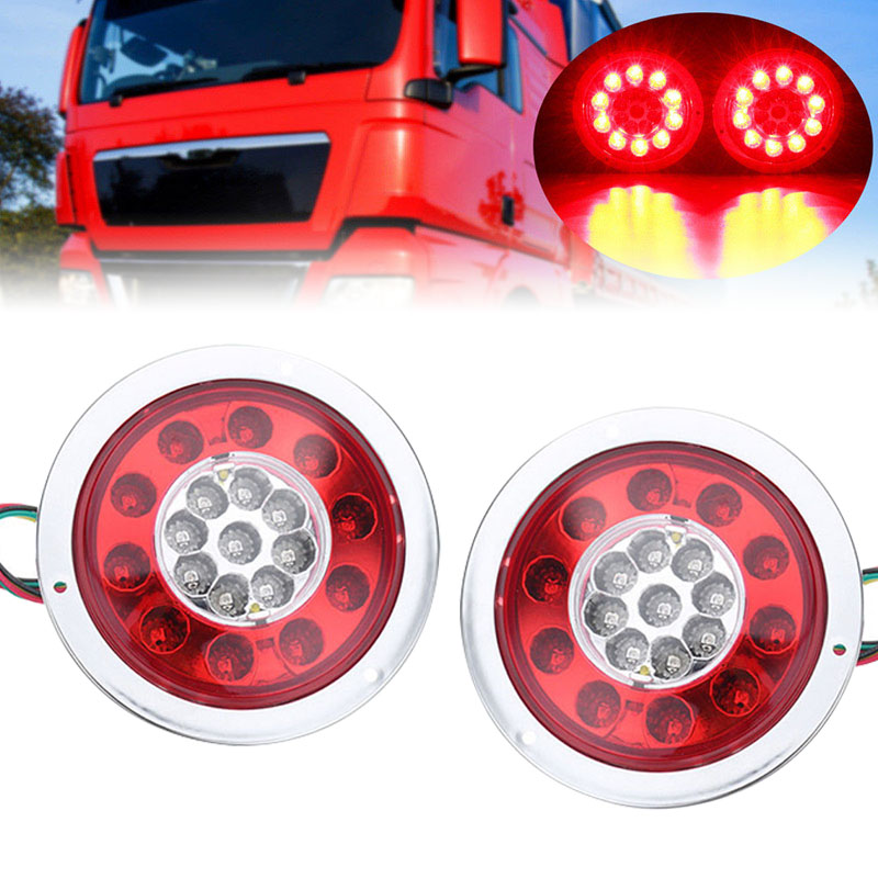 2PCS Round 19 LED Truck Trailer Lorry Stop Turn Tail Brake Light Side Marker Red + Amber Lamp for DC 12V/24V Trailer Caravans<br>