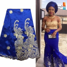 Blue George African Lace Fabric With Sequins Nigeria Embroidered Silk Fabric Guipure George Lace Fabrics For India Wedding Dress