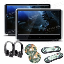 "XTRONS 2pcs Monitors 11.6"" HD Digital TFT Touch Panel 1080P Video Car Headrest DVD Player HDMI Port FM-TX USB GAME+2 Headphones"