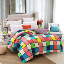 100% cotton duvet cover twin full queen king size blue plaid cartoon red plaid gray red new fashion duvet blanket quilt cover(China)