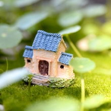 1pcs Three rooms fairy garden miniatures mini gnomes moss terrariums house resin crafts figurines for garden decoration(China)