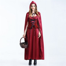 Sexy Women Switch Cosplay Red Riding Queen Role Playing Long Queen Red Dress Fantasy Halloween Costumes Cloak+Dress