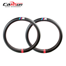 Carbon fiber sport steering wheel cover Universal 38cm Car Styling Accessories For BMW X1 X3 X5 X6 E36 E39 E46 E30 E60 E90 E92