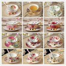 200ml Gold Plated Flower Pattern Ceramic Bone China Porcelain Cappuccino Coffee Cup Saucer Dish Set Black Tea Cup Mug with Spoon