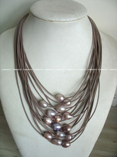 "wholesale unique 17-24"" 15rows freshwater pearl purple egg necklace"