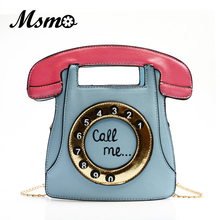 MSMO phone shape bag funny bag women's leather handbags telephone shaped brand designer cute bag mini crossbody bags personality