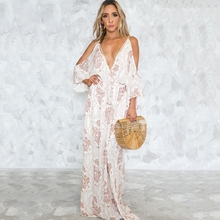 Womens Cold Shoulder Boho Dress Floral Printed Beach Dresses Sexy V Neck Plunge Cut Out Back Tie Pleasant Summer Dress Vestidos