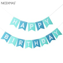 Happy Birthday Banner Chic White & Blue Party Decorations Versatile Beautiful Bunting Flag Garland(China)