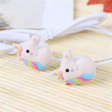 10pcs Unicorns Cartoon Earphones Colorful Rainbow Horse In-ear Earphone 3.5mm Earbuds With Mic Mini Earphone For SmartPhone