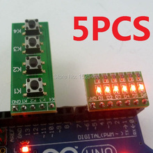 5PCS  LED + Button kit for Arduino UNO MEGA2560 Pro mini nano due Raspberry Pi Teensy++ ARM AVR PIC Development Board