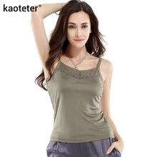 100% Pure Silk Women's Camis Femme Lace Sling Tops Women Casual Sleeveless Bottoming Female Camisole Ladies Halter Tops Woman(China)