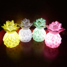 LED Bedside Lamp Pineapple Night Lights Children Cute Night Lamp Bedroom Kid Light Built-in 3*LR44 Yellow/Pink/Green/White