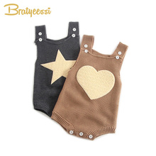New Heart Star Baby Rompers Girls Boys Baby Knitted Romper Toddler Overalls Infant Clothes 1 PC