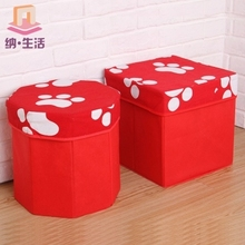 Foldable storage stool, people can ride shoes stool, cartoon toy box small household sofa stool