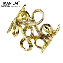 MANILAI Big Cuff Bangle For Women 2016 Iron wire Weave Opened Alloy Bangles Bracelets Manchette Fashion Jonc Statement Jewelry