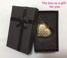 Lover's gift metal heart usb flash pen drive 8g 16g 32gb 64GB flash memory stick necklace disk diamond  with a nice Gift Box