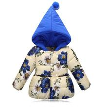 Baby Girls Clothes Cotton-Padded Kids Winter Jacket Flower Outwear Parka Childrens Clothing Girls Winter Coats For 1-5Y