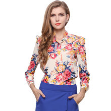 Vintage flower print women chiffon blouses 2016 fashion summer dresses Full sleeve vogue girls sheer shirts top sale free ship