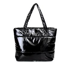 2016 Hot sale Women handbag leather bags New winter Large space bags han edition down cotton-padded bag tote New