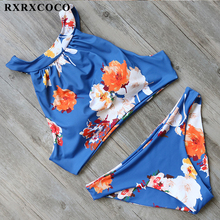 Buy RXRXCOCO High Neck Bikini 2017 Flower Printed Swimwear Women Sexy Padded Swimsuit Low Waist Bikini Set Female Sport Swim Wear