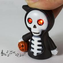Funny Halloween Pumpkin Death Skull LED Flashlight Action Figure Toys With Sound Keychains Bags Accessories Red Light 5ZHH060(China)