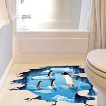 Shijuehezi Hot Ing Pvc Material Creative Floor Sticker Sea Ice Penguin Wall Art For Kids Room Bathroom Decoration