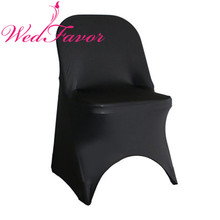WedFavor 100pcs Black Elastic Stretch Folding Chair Covers Spandex Lycra Chair Covers For Folding Chairs For Event Hotel Wedding(China)