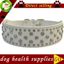 Rhinestone Dog Collar 2 Inch Wide Leather Collar For Big Dogs Adjustable Buckle Dog Necklace Pet Products For Animals Pink Red(China)
