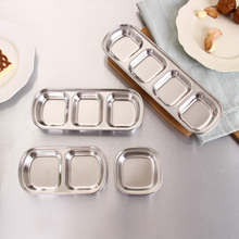Stainless steel kitchen Lattice seasoning small dish of soy sauce dish Japanese Trays Tableware vinegar sauce dish snack plate