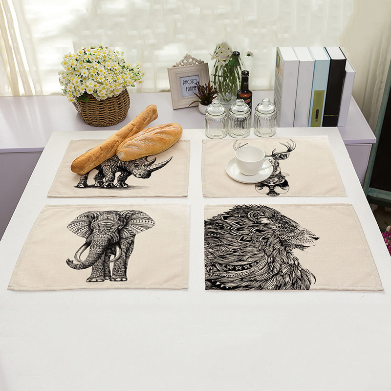 Pack of 4 Household Elephant Placemats Dining Pad Western Table Mats