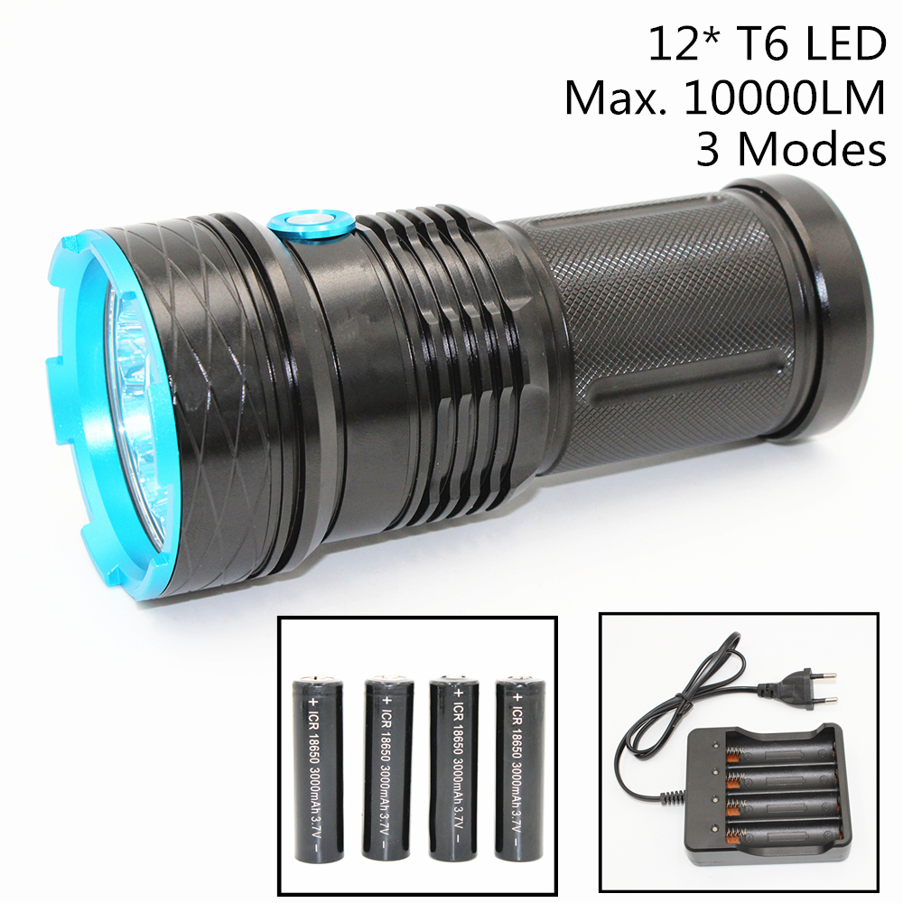 12000LM 12 T6 LED Flashlight XML-T6 Aluminum Torch Super Brightness White Light for Camping Hunting Battery &amp; Charger<br>