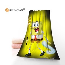 New Custom Spongebob Cartoon Towel Printed Cotton Face/Bath Towels Microfiber Fabric For Kids Men Women Shower Towels A8.8(China)