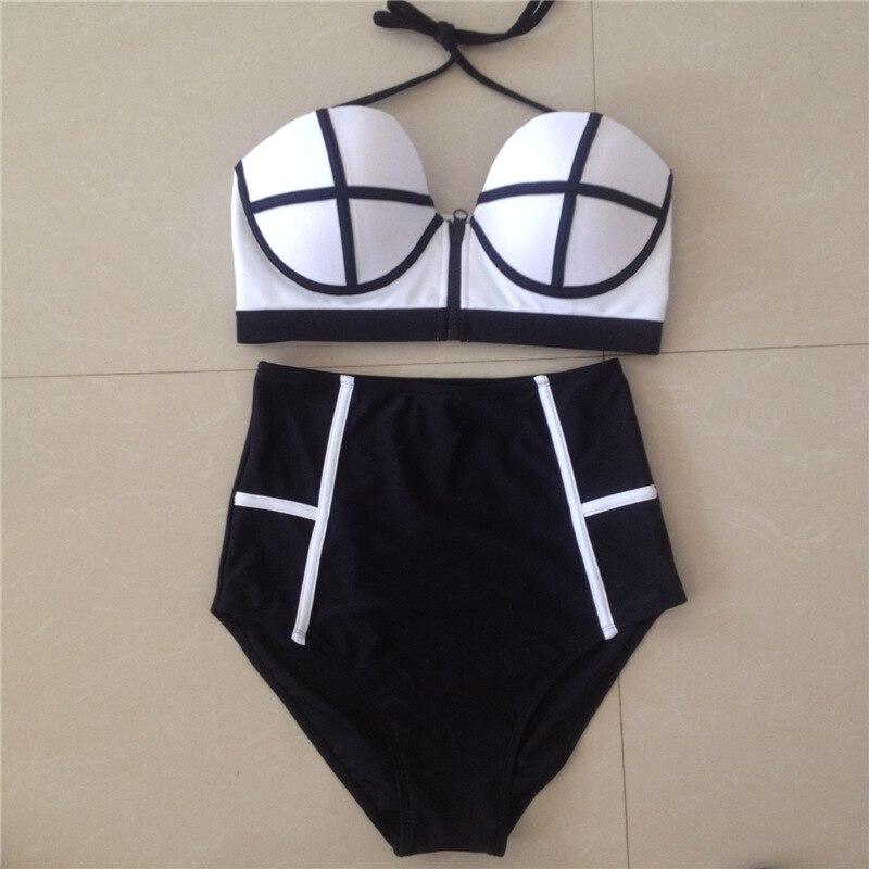 2017 High Waist Bikini Solid Color Patchwork Women Swimwear Zipper Vintage Swimsuit Bathing Suits<br><br>Aliexpress