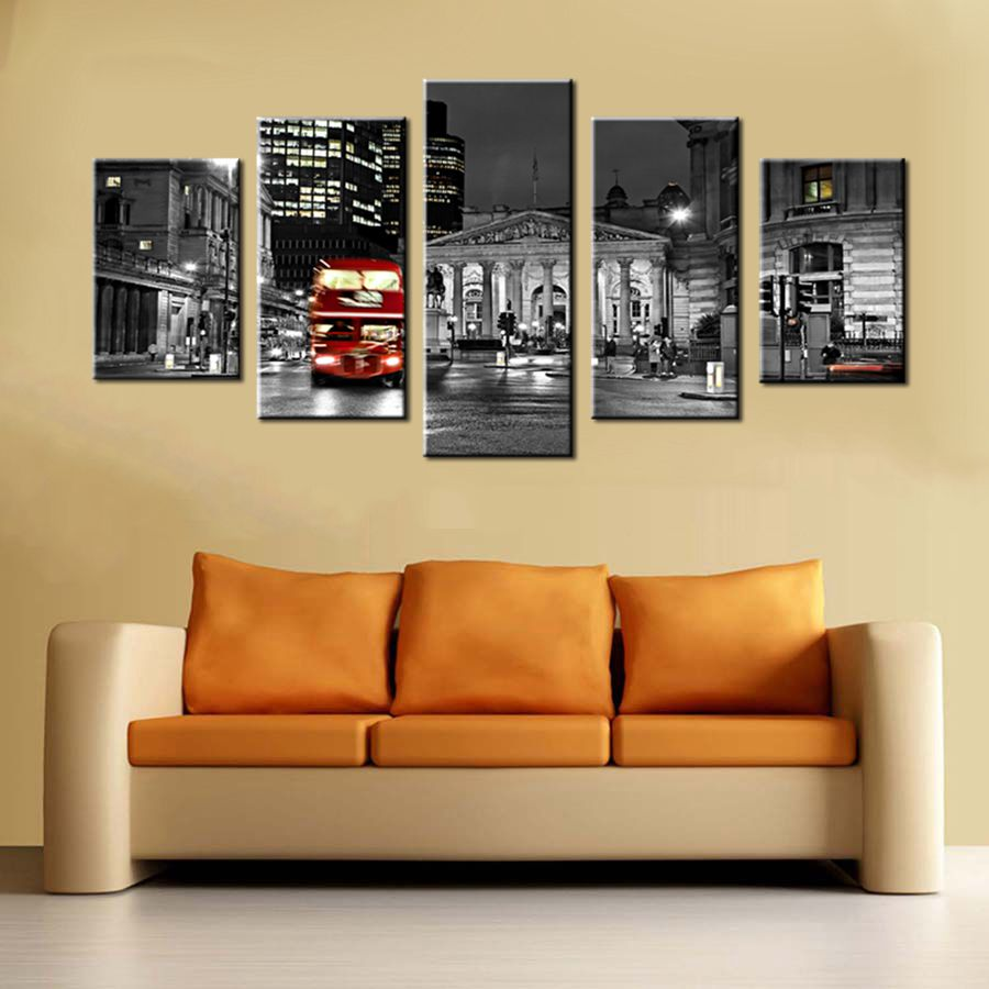 Black & White Painting Wall Art Red Double Decker Bus Running in ...