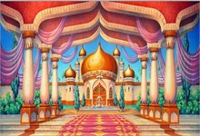 Buy Arabian Aladdin Palace Castle Pillars Hall Passage Entrance backdrops Vinyl cloth Computer print children kids Background for $20.24 in AliExpress store