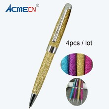 ACMECN 4pcs / lot Fashion Glitter Ball Pen MB style PU leather Ballpoint Pen for Women's Day Gifts Jewelled Crystal Bling Pens(China)