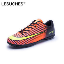 Men Outdoor Soccer Shoes Kids Boys Turf Football Boots Soccer Trainer Sports Sneakers Futsal Cleats Zapatillas Futbol A43(China)