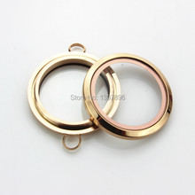 Active image rose gold stainless steel 30mm round floating locket with plain twist glass locket bracelet pendant 5pcs/lot(China)