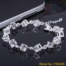 Women Heart Cube Clear Fashion Crystal Bangle Bracelet Jewelry for Best Friends Gift 4TE9(China)
