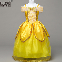 New 2017 Kids Girl Beauty and beast cosplay carnival costume kids belle princess dress for Christmas Halloween Dress For Girls(China)