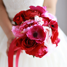 Red Rose & Peony Bouquet Red Wedding Flower Decoration Bridal Artificial Rose Bridesmaid Bride's Wine Red Bouquets Poppy flower(China)