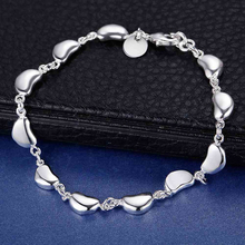High quality Luxury Hyacinth beans chain pure Silver bracelet for men women 2016 web fashion jewelry love heart couple bracelet