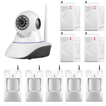 720P IP Camera WiFi Home Burglar Fire Alarm System PIR Motion Detectors Vandal-proof Support IOS Android