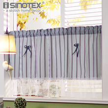 Mediterranean Kitchen Curtain Fashion Cafe Solid Cotton Lace Pastoral Style Small Cafe Curtain For the Kitchen Home Decoration(China)