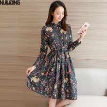 NIJIUDING Floral A-Line Dress Newest 2017 Fashion Turn-down Collar Long Sleeve Women Vintage Spring Dresses Chiffon Dress